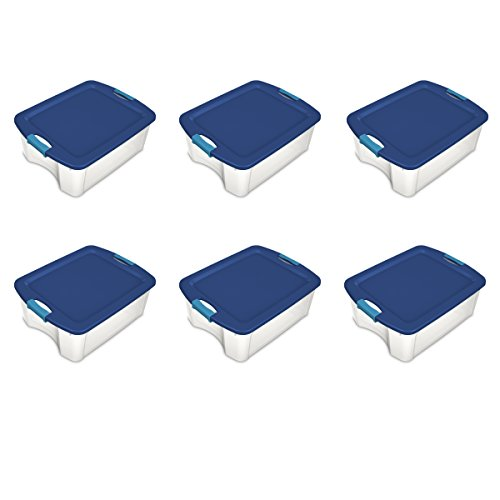 Sterilite 14449606 12 Gallon/45 Liter Latch and Carry, True Blue Lid & Clear Base with Blue Aquarium Latches, 6-Pack