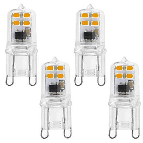 Bonlux G9 LED Lampe 2W 220V Birne Warmweiß 3000K Leuchtmittel Kein Flackern 360° Abstrahlwinkel Beleuchtung Für Innenbeleuchtung Tischlampe Dekoration Beleuchtung (4-Stück Nicht Dimmbar)