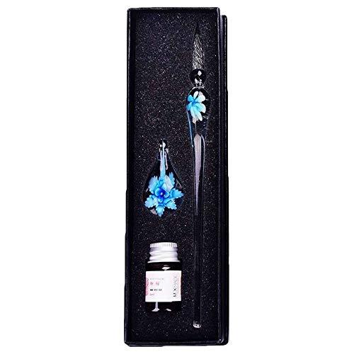 Stift Handgefertigte Glas Pens Blumen-Muster Transparent Füllfederhalter Geschenk-Set Farbe Farb-Tintendruck-Test Wasser-Zeichen Chalk Flash-Comics Füller ( Color : T8964 5C , Size : Kostenlos )