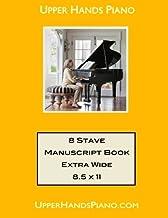 Upper Hands Piano 8 Stave Manuscript Book Extra Wide: 8.5 x 11 by Gaili Schoen (2012-05-23)