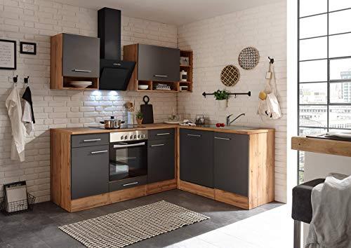 respekta Winkelküche Küchenzeile Küche L-Form Küche Wildeiche Grau 220x172 cm