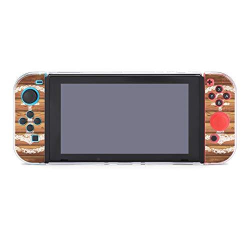 Funda protectora de PC antiarañazos, compatible con mandos Joy-Con y mando Split 5 piezas de consola de juegos blandos - Emblema marino en tablones de madera