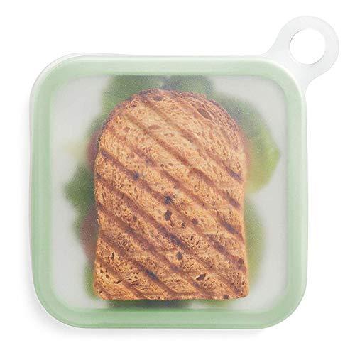 IKAAR Contenedor de sándwich reutilizable para bocadillos, de silicona, apto para microondas y lavavajillas