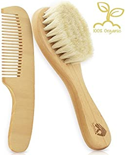 Natural Soft Newborn Baby Brush Set | Organic Goat Hair Bristles with Eco-Friendly Wood Handle | Wooden Infant Cutie Comb by PomPerfect