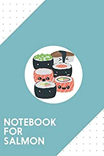 """Notebook for Salmon: Dotted Journal with Set of funny Sushi rolls Design - Cool Gift for a friend or family who loves rice presents! 