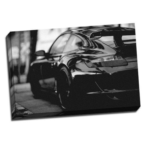 Große Modified Porsche 911Turbo schwarz & weiß gerahmt Leinwand Bild Wand Kunstdruck 50,8x 76,2cm A1