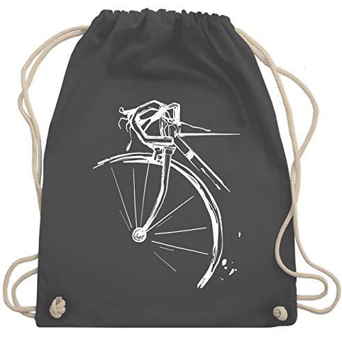 Shirtracer Fahrrad Bekleidung Radsport - Fahrrad vintage effekt - Unisize - Dunkelgrau - vintage rennräder - WM110 - Turnbeutel und Stoffbeutel aus Baumwolle