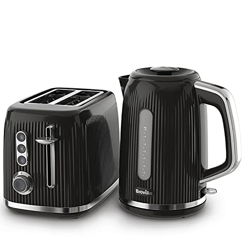 Breville Bold Black Kettle and Toaster Set | with 1.7 Litre, 3KW Fast-Boil Electric Kettle and 2-Slice High-Lift Toaster | Black and Silver Chrome [VKT221 and VTR001]