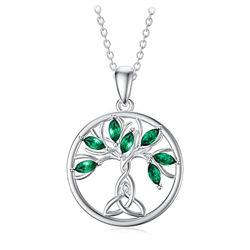 Dorunmo Tree of Life Necklace Emerald Celtic Knot Family Tree Pendant Necklace for Women 925 Sterling Silver Jewelry Gift for Mom Her Birthday Anniversary
