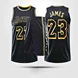 Jersey Men's, NBA Los Angeles Lakers # 23 Lebron James - Niño Uniformes De Baloncesto para Adultos Clásicos Camisetas Deportivas Sin Mangas Y Chaleco Cómodo Tops Set,M(Child) 125~135CM