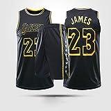 Jerseys De Baloncesto para Hombres, NBA Los Angeles Lakers # 23 Lebron James - Niño Adulto Chaleco Clásico Comfort Deporte Transpirable Sin Mangas Camiseta Uniformes,Negro,XL(Child) 145~155CM