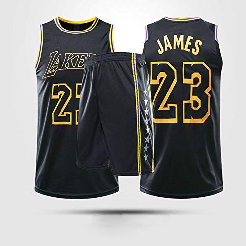 Jerseys De Baloncesto para Hombres, NBA Los Angeles Lakers # 23 Lebron James - Niño Adulto Chaleco Clásico Comfort Deporte Transpirable Sin Mangas Camiseta Uniformes,Negro,M(Child) 125~135CM