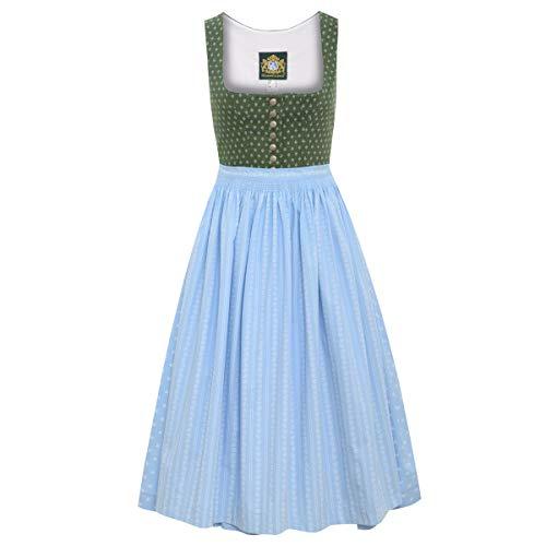 Hammerschmid Damen Trachten-Mode Langes Dirndl Eibsee in Grün traditionell, Größe:38, Farbe:Grün