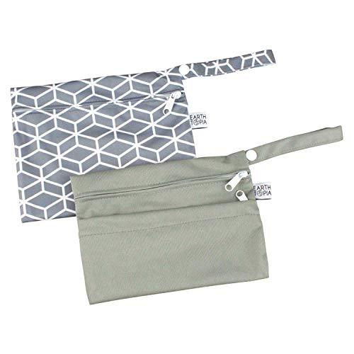 Earthtopia Kleine wasserdichte Nasstaschen | Wetbags für Damenbinden, Slipeinlagen, Stilleinlagen oder Badekleidung | Bindentaschen (15x20cm, 2 Stück)