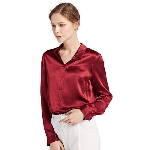 LilySilk Damenbluse Seide Langarm Hemdbluse Oberteil Shirts Damen Kentkragen von 22 Momme (L, Weinrot) Verpackung MEHRWEG