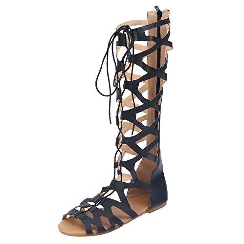 REALIKE Sandalen Damen Booties Stiefel Sommerschuhe Neu Mode Crossover Bandage Schnalle Plateau Peep Toe Sandaletten Schuhe Strandsandalen Römersandalen Freizeitschuhe Bequeme Touch