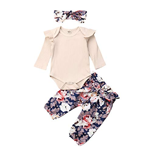 3PCS Outfits Baby Girls Ruffle Romper Bodysuit Tops Denim Jeans High Waist Pants Floral Halen Pants (12-18 Months, O-Beige)