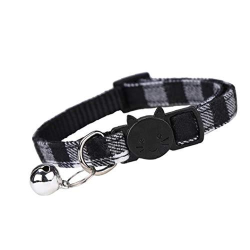 Los Collares de Perro Collares para Gatos Cachorro con Bell Tela Escocesa Ajustable de liberación rápida de tracción Negro