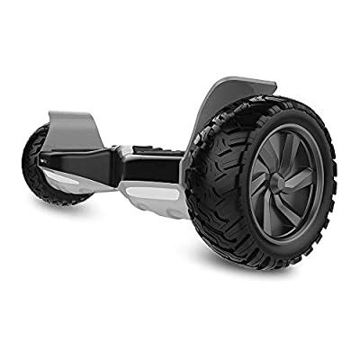 HYPER GOGO Off Road, Electric Self Balancing All Terrain Hoverboard with Built-in Speaker and LED Lights, UL2272 Certified, 8.5 Inch, Black and Grey