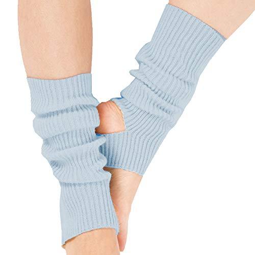 Ecroon Damen Mädchen Ballettstulpen mit Fersenloch Beinwärmer Ballett Yoga Stulpen Legwarmer Beinstulpen ca. Stützstrümpfe (One size, A-SkyBlue)