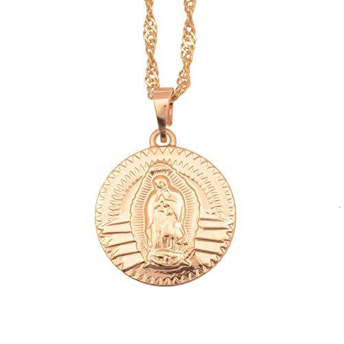 Colgante de Retrato de la Virgen María con Cadenas Finas para Mujeres, Joyas de Color Dorado Claro Regalos religiosos