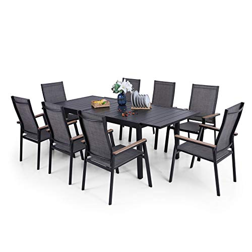 PHI VILLA Patio Dining Set of 9, Outdoor Dining Furniture Set with 1 Rectangle Extendable Metal Dining Table for 6-8 Person & 8 Stackable Dining Chairs with Aluminum Frame for Poolside Backyard