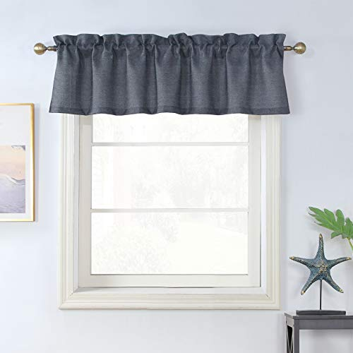 Rama Rose Soft Burlap Valance Rod Pocket Window Curtain Valance Rustic Home Decor 56 by 16 Inches, Charcoal
