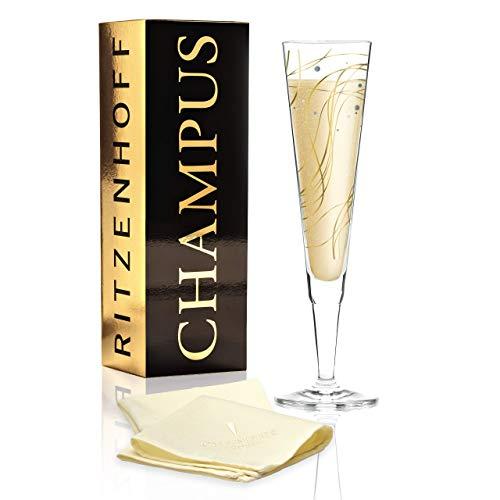 RITZENHOFF Champus Champagnerglas von Asobi, aus Kristallglas, 200 ml, mit edlen Gold- und Platinanteilen, inkl. Stoffserviette