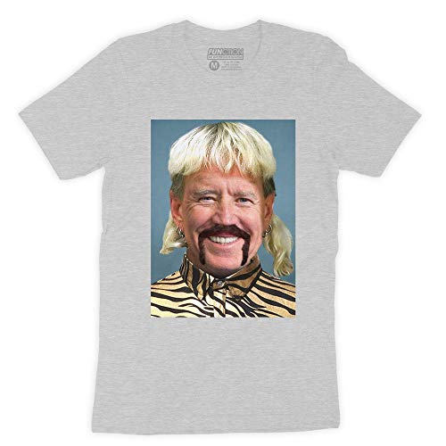 Function - Joe Biden Exotic Mashup Funny Mullet Mustache Leopard Shirt Fashion T-Shirt Tiger King Carole Meme Novelty Democrat Vote Election Heather Grey
