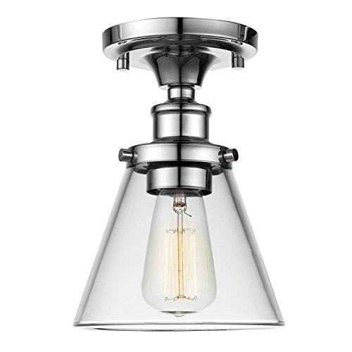 Globe Electric 65726 Mercer Light Flush Mount, Chrome with Glass Shades, 9.25