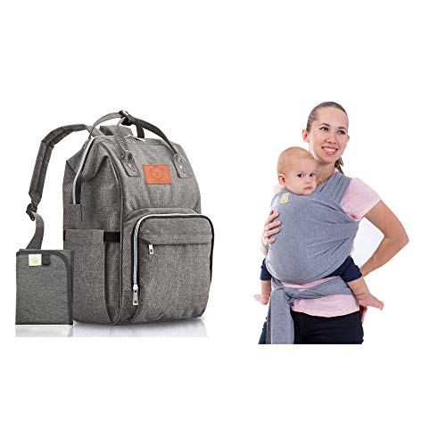 KeaBabies Diaper Bag & Baby Wrap Carrier Bundle - Travel Hands Free With Large Diaper Bag & Stretchy Baby Sling Carrier - For Newborn, Infants and Babies - Baby Shower