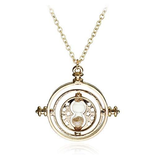 AdorabFruit Présent Pendentif Tamaño pequeño Collar de Reloj de Arena Tiempo Colgante de la Vendimia for Las Mujeres de señora Girl (Metal Color : Gold)