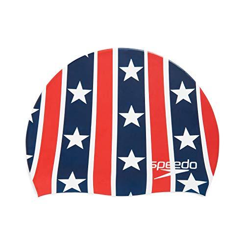 Speedo - Cuffia da nuoto unisex in silicone elastomerico, colore: Blu navy/rosso/bianco