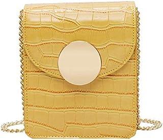 SODIAL Crocodile Leather Bag Ladies Shoulder Chain Messenger Bag Summer Mobile Phone Bag Yellow Grain Random