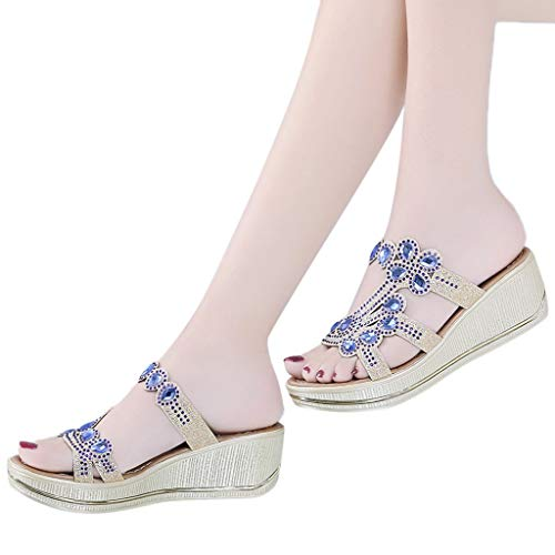 Aniywn Women's Slide Wedge Sandal Glitter Sparkle Sandals Shoes Open Toe Slip On Bohemia Style Slippers Shoes