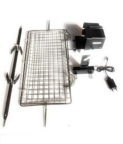 ALLEGRI Girarrosto per Barbecue TEPRO,DARDARUGA Alimentazione USB Velocita' Regolabile con Griglia cm 50 x 22 Spiedo e fermacarne Portata 15 kg