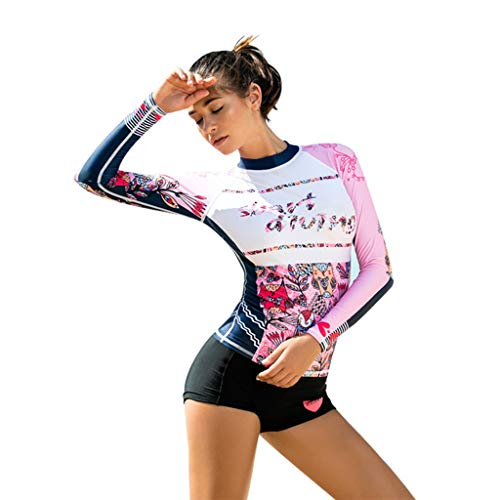 WoCoo Women Surfing Suit Rash Guard Long Sleeve UV Protection Cartoon Printed Swimsuit High Waist Diving Wetsuits(Multicolor ,Medium)