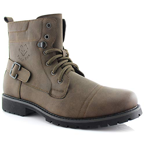 Polar Fox Lace-up Buckle Combat Boots FABIAN MPX808006 BROWN 9