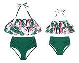 AmzBarley Traje de Baño Bañador de Mujer Tankini Push up Dos Piezas Conjuntos,Sexy Bikinis Mujer Braga Alta Cintura y Cuello Colgante Acolchado Bra Top con Volantes Set Verano Playa Ropa M,340B/M