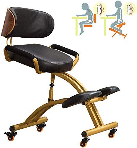 LNLJ Silla de oficina flexible ergonómica con reposabrazos y respaldo, cojines de poliuretano, taburete de escritorio ajustable para mejorar la postura y el dolor de cuello