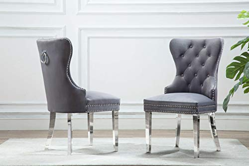 Best Quality Furniture Side Chair (Set of 2) Dark Gray