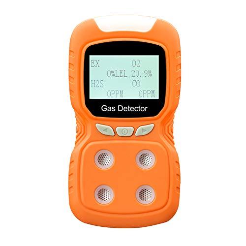 Bespick Detector de Gas Compuesto USB,Detector Multigas,Monitor de Calidad del Aire con Pantalla LCD,4 GasO2/CO/H2S,Sonido Luz Choque Alarma para Química,Construcción,Fuego,Gas Natural
