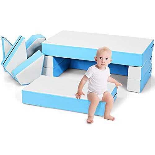 COSTWAY Sofa Divano da Gioco per Bambini, Gioco Puzzle Componibile 4 in 1, Morbido e Impermeabile, 141 x 94 x 12 cm (Azzurro)