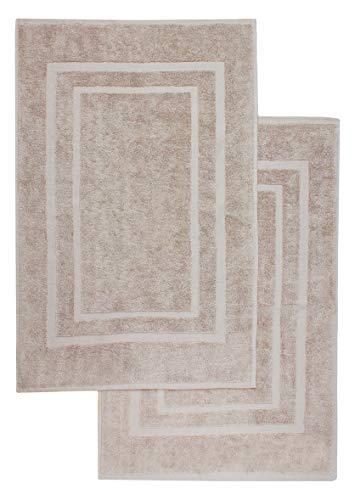 2er Pack Badvorleger Badematte | Premium Qualität | 100% Baumwolle | 50 x 80 cm | Duschvorleger Duschmatte Doppelpack | Farbe: Sand/Beige
