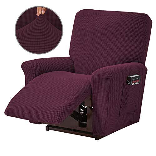 Topchances Funda reclinable de 4 piezas para sillón reclinable con bolsillo lateral inferior para sala de estar, dormitorio (vino tinto)