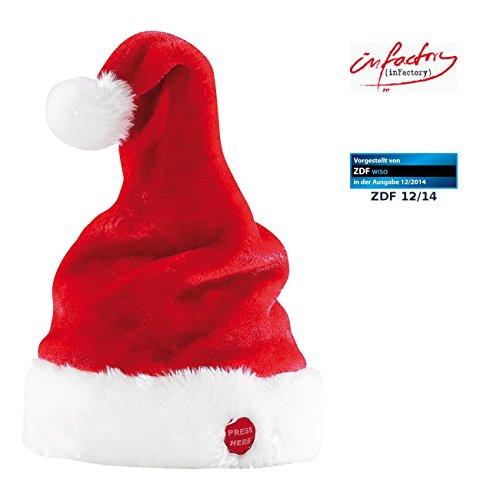 infactory Weihnachtsmütze: Singende und tanzende Nikolausmütze (Singende Weihnachtsmütze)