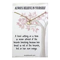 Doodle Beads 小さな鳥のネックレス メッセージ付き Always Believe in Yourself ペンダントネックレス ジュエリー ゴールドカラー 16インチ+ 1インチ延長チェーン付き 女性用