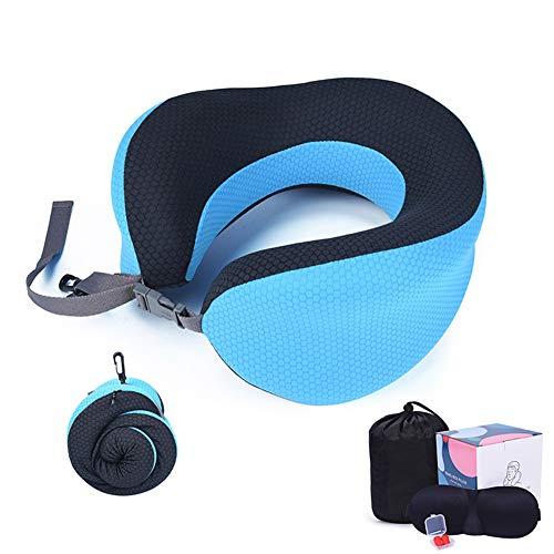 TZTED Nackenkissen Schlafen Memory Foam Stoff Ergonomisches Nackenstützkissen Für Optimalen Komfort Durch Beste Memory Foam Technologie,Blau