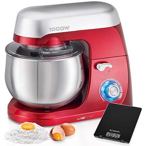 Clatronic KM 3709 Küchenmaschine mit 5 l Fassungsvermögen, elektronische Geschwindigkeit, 1000 W, Rot + Küchenwaage