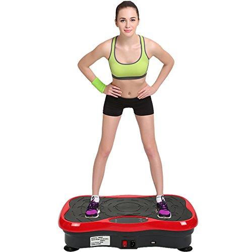 YIFAA Pedana Vibrante, con Bluetooth Audio+ USB + Rimuovi Controllo per Perdita di Peso e tonificazione del Corpo e scuotimento di Tutto Il Corpo, 53x32,5x12 cm (Nero-Rosso)